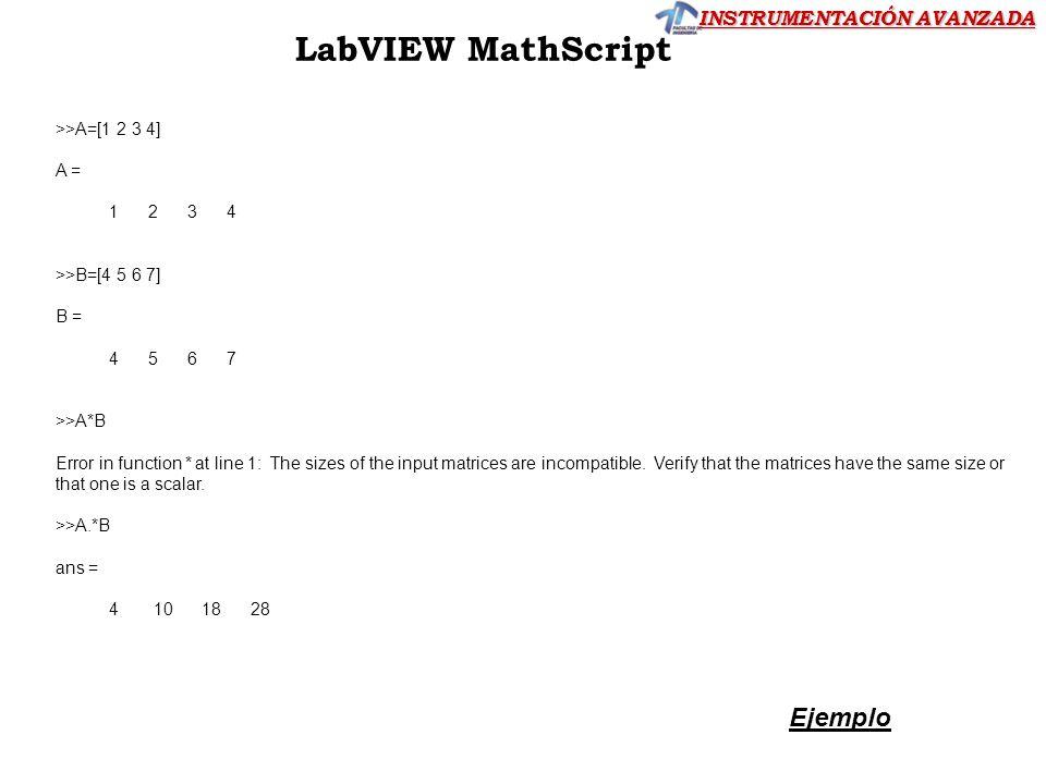 LabVIEW MathScript Ejemplo >>A=[1 2 3 4] A = 1 2 3 4